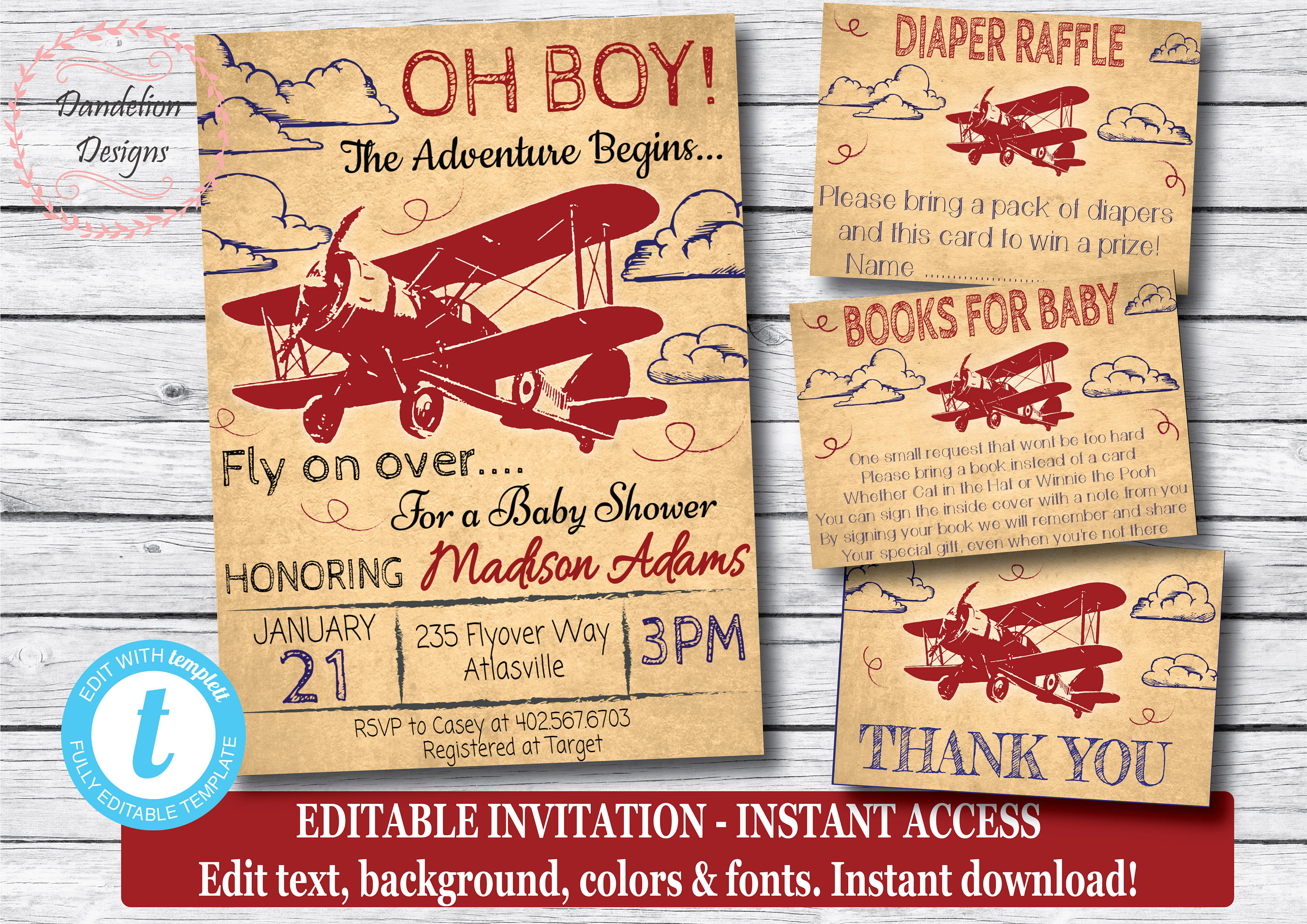 Airplane baby shower package vintage airplane invitation | Etsy