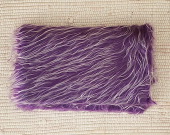Fur fabric long-haired 55*47 cm. Violet with white.