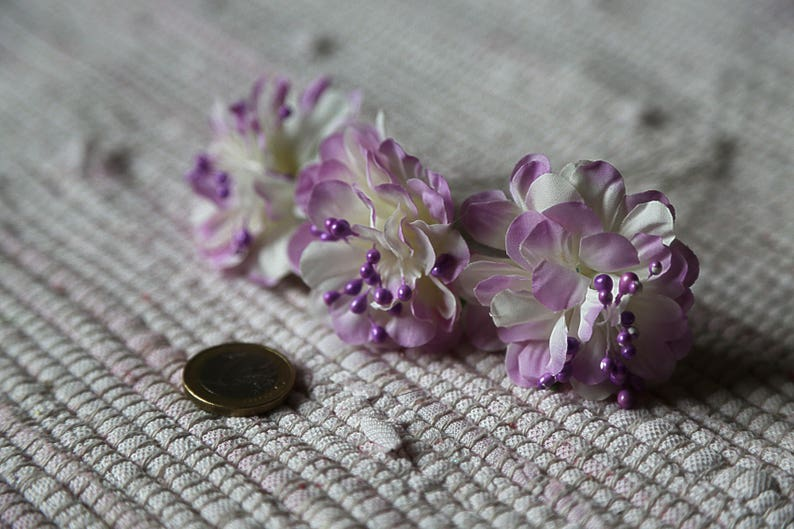 Small violet and white realistic flowers Set 3 fabric flowers