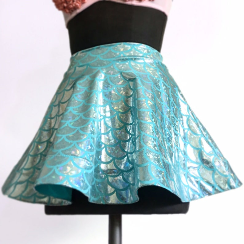 Seafoam blue  green Aqua Fishscale Mermaid Circle Short Skirt Festival Halloween Hologram Crinoline