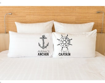 f709dd5261 His Hers Pillowcases Couples Gift Her Captain His Anchor Nautical Pillow  Cases Cruising Bedding Set