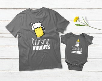 b866192f83de Father Son Matching Outfit Drinking Buddy Milk Beer Shirt Daddy and Me Baby  Boys Clothes Dad and Son Shirts