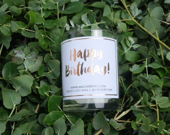 Happy Birthday Candle (Rosegold Foiled Candle, Birthday Candle, Birthday Gift)