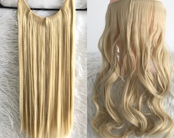 20 inches Halo Hair Extensions, 2 packs bundle, One piece Invisible wire wavy hair, human hair look, free shipping, hair accessories,women