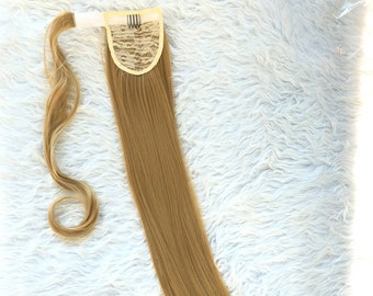 Ponytail Straight Hair Extensions ash blonde synthetic fiber like human hair