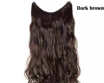 24 inches Halo Hair Extensions, One piece Invisible wire wavy hair, synthetic fiber, like human hair, free shipping, hair accessories,women