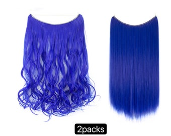 Halo Hair Extensions, 2 packs bundle, One piece Invisible wire wavy hair, look like human hair, free shipping, hair accessories, for women