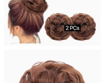 2PCS Messy Hair Bun Extensions Curly Wavy Messy Synthetic Chignon Hairpiece Scrunchie Scrunchy Updo Hairpiece for women