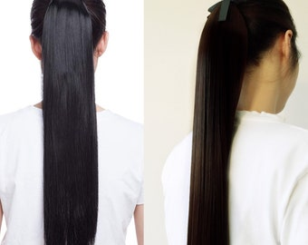 Ponytail Hair Extensions 26 inches look like human hair straight and soft synthetic fiber