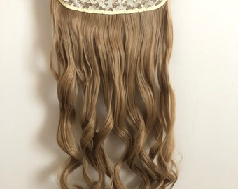 """One piece 5clips 20"""" Synthetic fiber Curly Hair Extensions Dark Blonde"""