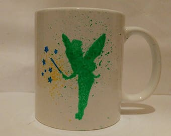 Tinkerbell silhouette hand painted mug