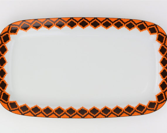 "Small vintage Melitta ""Hamburg"" serving platter retro pattern orange German pottery"