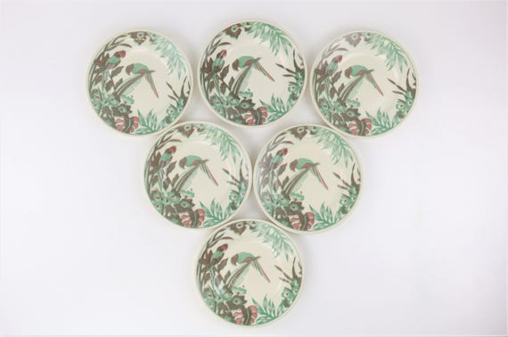 EIT England vintage Urban Jungle ceramic Plateset 6 pcs. Colorful Parrot motif rar