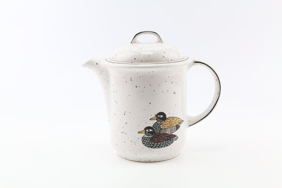 """retro coffee pot with duck motif """"hand decorated"""" porcelain manufactory Winterling German pottery duck print"""