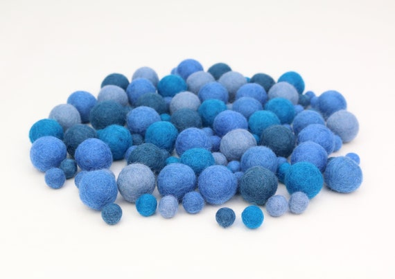 "Felt Balls Color Mix ""Blue"" - 100 pcs. felt balls 2.5 cm + 1 cm colormix colorful decoration Pom Poms Colors Mix Garlands Decoration"