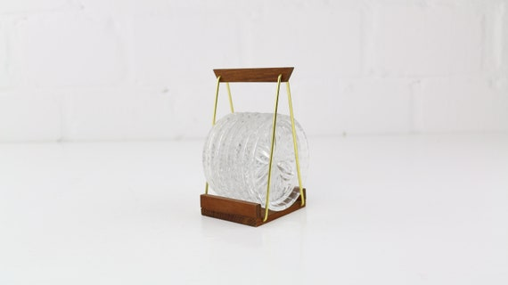 6 Glass coaster in Holder vintage Teak string Design 6 coasters Midcentury Modern art seventies love