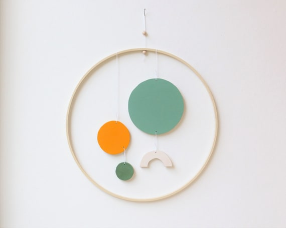 Mobilé wooden abstract modern simple shapes wooden ring 30 cm x colorful wallhanging wallart