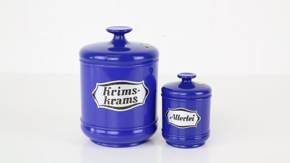 2 Blue vintage Storage cans from EMSA Germany Crimea stuffs & all sorts set retro containers plastic set of vintage food storage containers