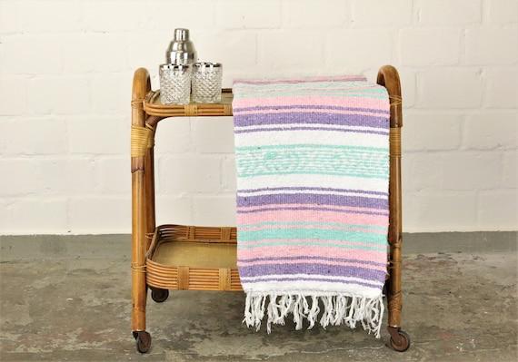 solide gewebte Navajo Decke aus Mexiko Sarape 180 x 130 cm Pastelltöne