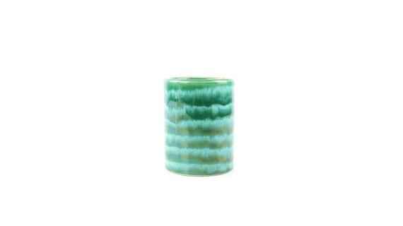 grüner vintage Becher aus Keramik Zahnputzbecher Stiftehalter Vase midcentury modern design fat lava style retro pottery botanical interior