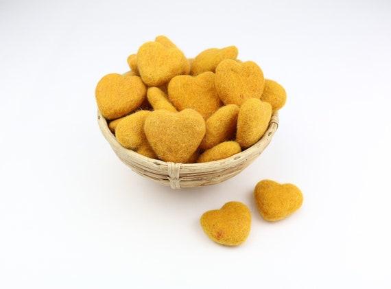 golden hearts made of felt for crafting #10 decoration Pom Poms versch. Colors Felt Hearts Garlands Decoration Colorful