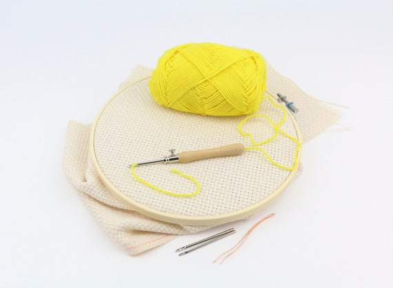DIY set Punchneedle LAVOR 1 - 4 mm with embroidery frame 20 cm and fabric punching needle for different Yarn thicknesses embroidery rug hooking embroidery