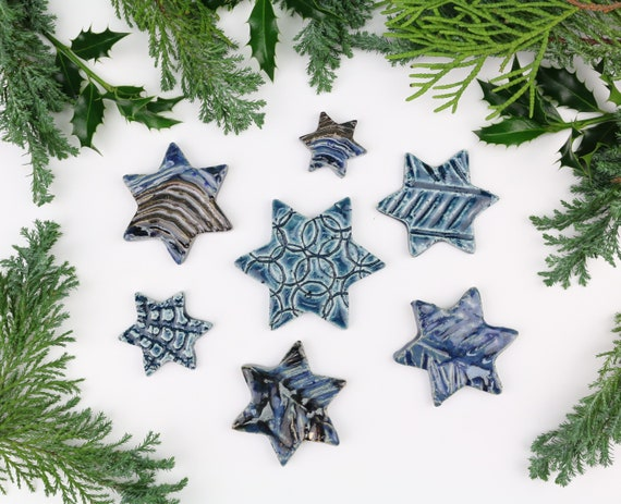 Christmas decoration large set potted stars Christmas decorations made of clay table decoration beautiful gift tags ceramic blue advent wreath