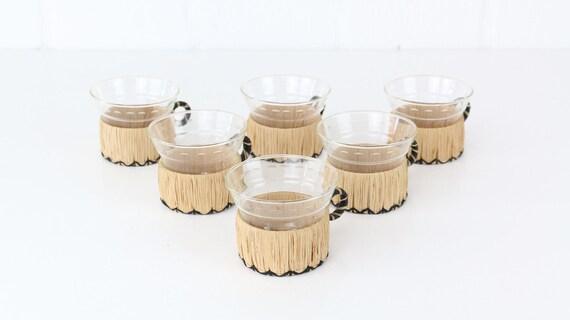 6 tea glasses Groggläser with handle basket braid details Midcentury Modern design vintage urban jungle style shot glasses rattan basket