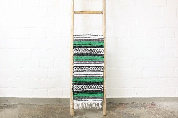 """große gewebte Decke aus Mexiko 180 x 130 cm grün """"Falsa"""" Hot Rod Harley Stranddecke Jogadecke Picknickdecke Mexican Navajo blanket"""