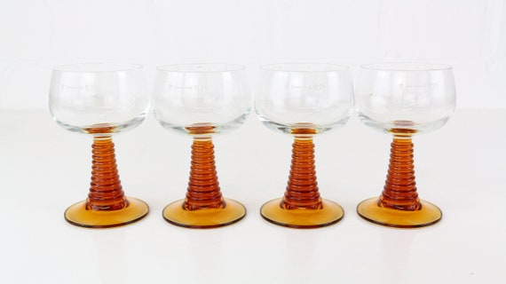 Vintage wine glasses set of 4 stubs. Roman glasses amber coloured thick midcentury modern amber wine glasses set of 4 brown glassware