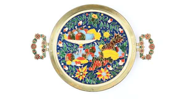 """farbenfroher, seltener Vintageschatz Tablett von """"Cosmosmalt"""" Kupfer"""