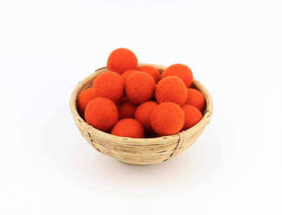3 cm dark orange felt balls for crafting #12 felt balls decoration Pom Poms versch. Colors Felt Balls Garlands Decoration