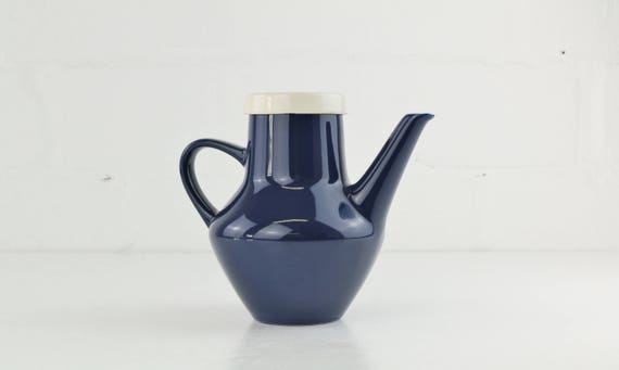 Vintage Melitta Germany Decor: Copenhagen tea or coffee can dark blue german retro pottery Scandinavian design trend color Blue