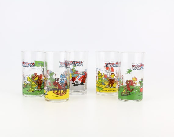 5 er Set vintage Hello Spencer Drinking Glasses Cult retro children's series collectible glass