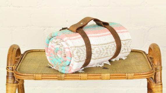 Trageriemen Tragegurt aus Leder in braun für Decken Strand