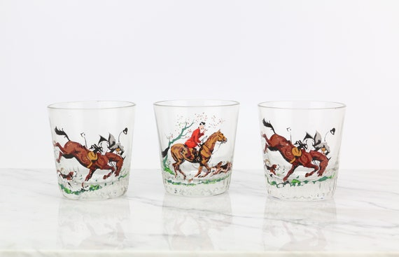 3 er Set vintage 60s Whiskey Glasses Drinking Glass Rider Horses Jockeys Cult Retro Collectible Glasses Collectible Glass Press Glass