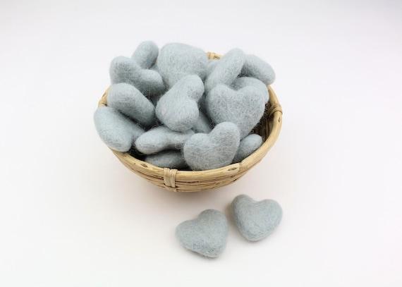 light grey hearts made of felt for crafting #38 felt heart decoration Pom Poms versch. Colors Felt Hearts Garlands Decoration Colorful