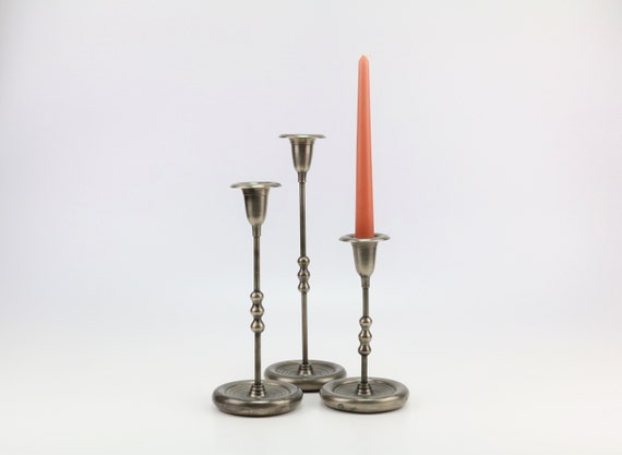 Set of 3 vintage candlesticks in tin boho wedding table decoration candlestick candleholder bohemian tin candle holder