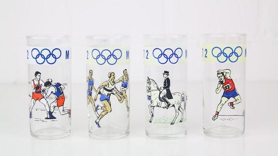 "Set vintage drinking glasses 4 pieces ""Olympia München 1972"" Collectors glasses retro glasses vintage drinking glasses mint condition collectors cut"