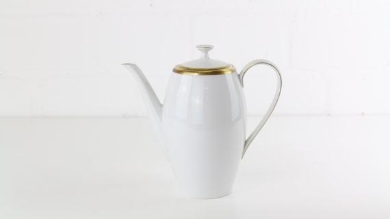 White vintage teapot Coffee pot from Arzberg Germany West Germany antique vintage coffee pots tea Pot German pottery