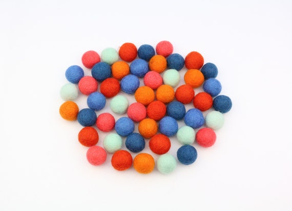 "colorful felt balls color mix ""Retro"" - 50 o. 100 pcs. felt balls 2 cm colormix decoration pom poms colors Mix Garlands Decoration"