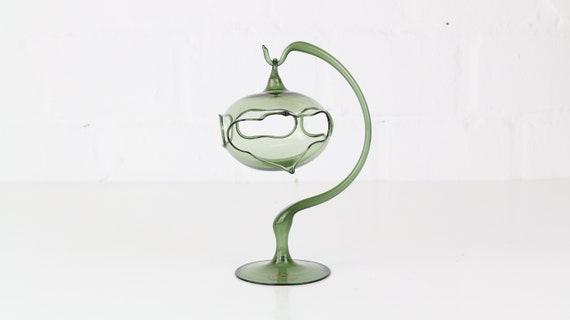 exceptional green candlestick designer glass handmade glass art