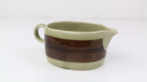 "Vintage Melitta Ceracron ""Helsinki"" gravy boat Brown beige German retro pottery Brown"