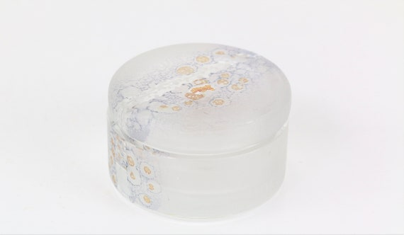 small filigree can of glass signed studio glass glass can designer glass glass art