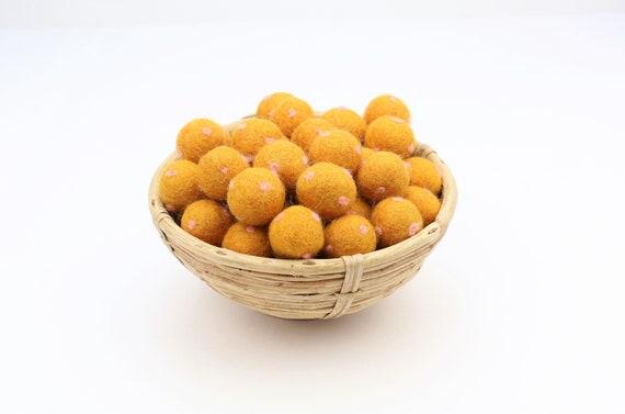 gold / pastel pink polka dot felt balls for crafting felt balls with dots decoration Pom Poms Felt Balls Garlands Decoration colorful