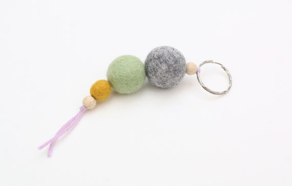 colorful keychain made of felt balls keychains feltballs