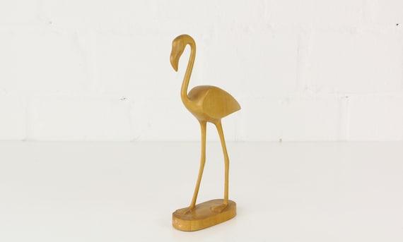Vintage Bright Wood flamingo bird Figure 25 cm high VEB DDR wooden Midcentury Modern flamingo figurine mint condition