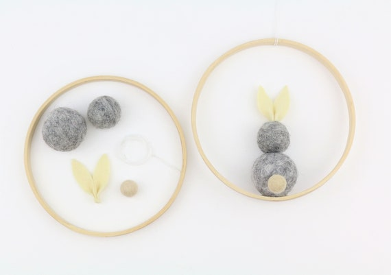 DIY set for a bunny made of felt balls in a wooden ring 12 cm Easter decoration door wreath yourself craft easter decoration Easter