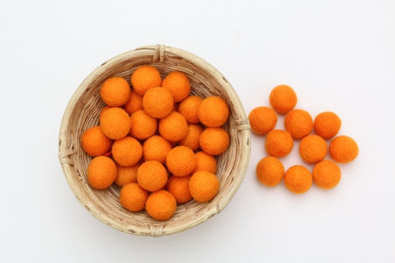 orange felt balls 1 cm/ 2.5 cm for crafting #11 felt balls decoration Pom Poms versch. Colors Felt Balls Garlands Decoration colorful