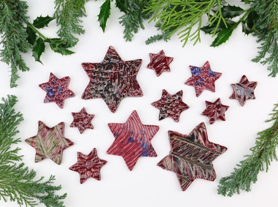 Christmas decoration large set potted stars Christmas decorations made of clay table decoration beautiful gift pendant ceramic berry pink Advent wreath